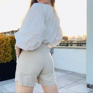 J.Jill Linen High Waist Short Pull On Shorts Tan S